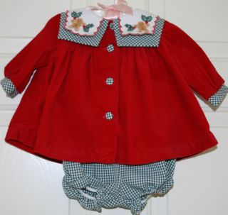 BONNIE BABY GIRL 3 6 HOLIDAY GINGERBREAD GINGHAM RED CORDUROY DRESS