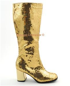 Bordello Gold Sequin Womens GoGo Knee High Boots Shoes