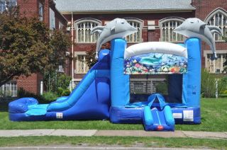 Inflatable Water Slide Bounce House Bouncer Slides Sea Theme Dolphin