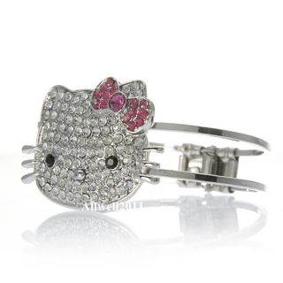 Hello Kitty Crystal Bling Bracelet Pink Bow Rhinestone Fashion Jewelry