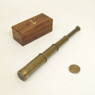 15 Antique Brass Telescope in Wooden Box Brass Telescope Pirate