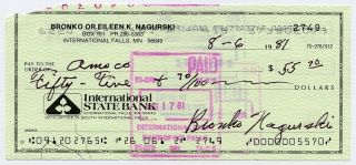 signed check BRONKO NAGURSKI chicago bears signature auto pro football