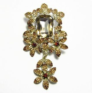Dangle Floral Fashion Brooch Pin Pendant Austrian Rhinestone Crystal