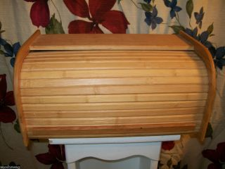 Roll Top Bread Box Kitchen Wood Breadbox Vintage Small One Loaf