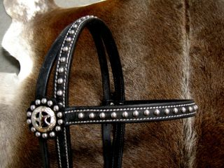 Bridle Western Leather Headstall Black Pink Bling Tack