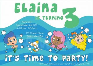 BUBBLE GUPPIES Birthday Party Personalized Custom Invitation