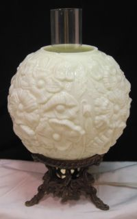 Vtg Fenton Banquet Parlor Lamp Custard Glass Poppy Globe Shade Brass 3