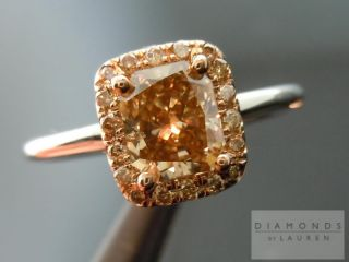 Radiant Cut Fancy Deep Brown Yellow Halo Ring R3760 Diamonds by Lauren
