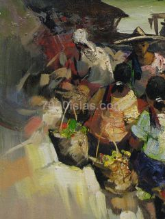 Cavite Palengke 18x24 Philippine Folk Modern Art Oil Painting Pinoy