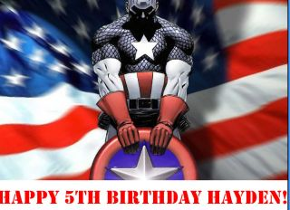 Captain America Edible Cake Image Topper Decoration Custom Birthday
