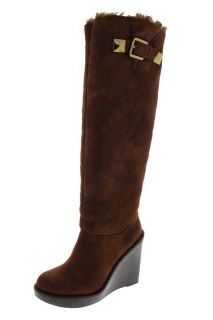 Michael Kors NEW Calista Brown Faux Fur Knee High Wedge Boots Shoes 10