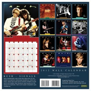 rush signals rock band 2012 wall calendar shipping info