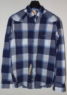 Hugo Boss Orange Eade Blue Checked Casual Shirt