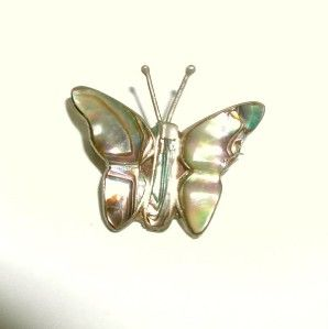 Vintage Mexican Sterling Silver Abalone Butterfly Brooch Pin