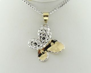 Butterfly Solid 14k Two Tone Gold Pendant with 18 Necklace