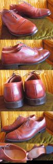 True Vtg Allen Edmonds Byron Caramel Leather Dress Shoes Mens 11 D USA