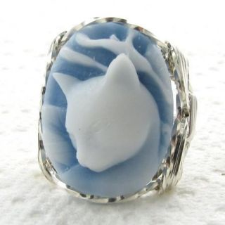 Calla Lily Cat Blue Cameo Ring Sterling Silver Custom Jewelry
