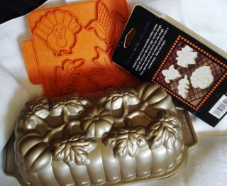 Nordic Ware Pumpkin Bread Loaf Cake Pan 8 Cookie Cutter Shapes