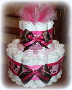Camouflage Diaper Cake HIDDEN GIFTS Baby Shower Centerpiece Camo Girl