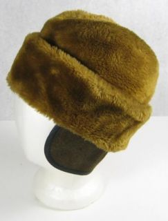 Vintage Warm Brown Caramel Faux Fur Envelope Fedora Hat Union Made w