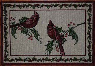 Tapestry Placemat Cardinal Christmas Red Bird Holly Berry Winter