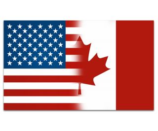 American Canadian Flag USA Canada Car Vinyl Window Bumper Sticker