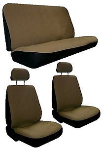 Tan Beige Faux Leather 6 Piece Racing Car Seat Covers