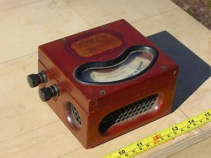 Antique Wood and Brass General Electric Model P8 Voltmeter Edison Era