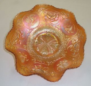 Beautiful Carnival Fenton Dragon Lotus Bowl Orange Ruffled Bowl 9