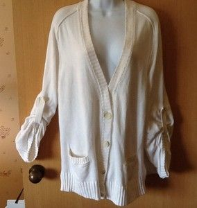 Michael Kors White Sweater Jacket Sz Large