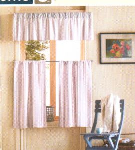 Casual Home Window Valance and Tier Set Tan New