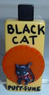 Perfume Bottle Display Pin Charm Necklace Halloween Black Cat