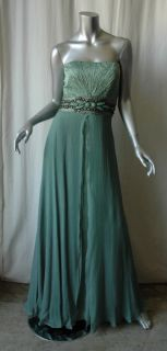 Carlos Miele Strapless Jewel Crystal Silk Gown Dress 40