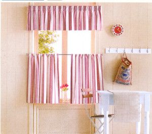 Casual Home Window Valance and Tier Set Pink New