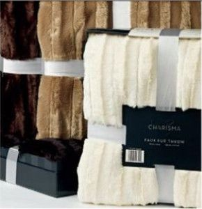 New Charisma Plush Luxury Faux Fur Throw in Gift Box Beige 60X70 $70
