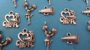 25 PiEcE LoT ~ LoVe To CHeeR CHeeRLeADeR MEgAPHoNe SiLvER MiXeD ChArMs