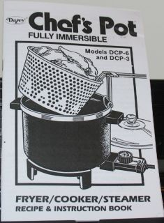 New Dazey Chefs Pot Recipe Manual Fryer Steamer DCP 6 DCP3