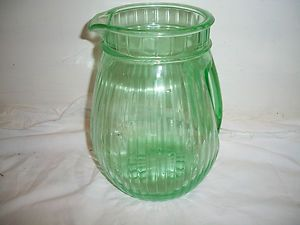 Vintage Green Depression Glass Water Pitcher W/Unusual Handle. ESTATE