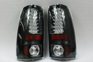 03 06 Chevy Silverado GMC Sierra Pickup Truck Black LED Tail Lights