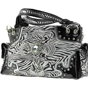 New Western Soft White & Black Zebra Rhinestone Purse Handbag w/ Cross