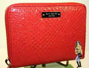 NWT Kate Spade Cherry Hill Mini Lacey Embossed Leather Zip Wallet in