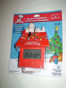 PACKAGE Hallmark Peanuts Snoopy Countdown to Christmas Clock Ornament