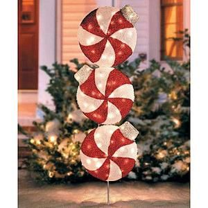 OUTDOOR LIGHTED CHRISTMAS PEPPERMINT CANDY ORNAMENT Yard Art Holiday