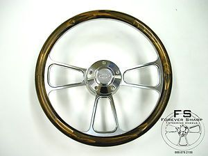 Steering Wheel w Pine Wood Halfwrap Set Chevy Jeep GMC Chevrolet