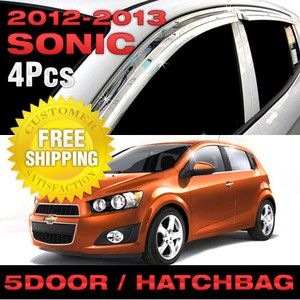 Chrome Window Vent Visors Rain Guards for 2012 Chevrolet Sonic Aveo 5