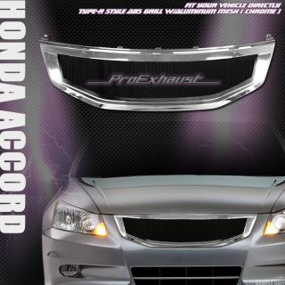 CHROME ALUMINUM MESH FRONT HOOD BUMPER GRILL GRILLE ABS 11 12 HONDA