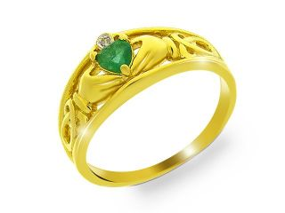9ct Yellow Gold Emerald & Diamond Claddagh Ring Size N