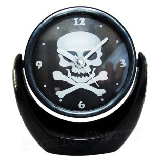 Mini Skull Clock Mirror Rockabilly Punk Gothic Tattoo Retro Makeup