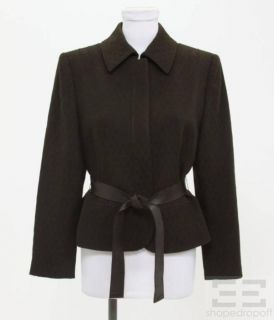 Christian Lacroix Dark Brown Wool Belted & Seamed Jacket Size 40