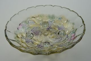 Indiana Glass Clear Footed Fruit Bowl Decorative Collectible Vintage